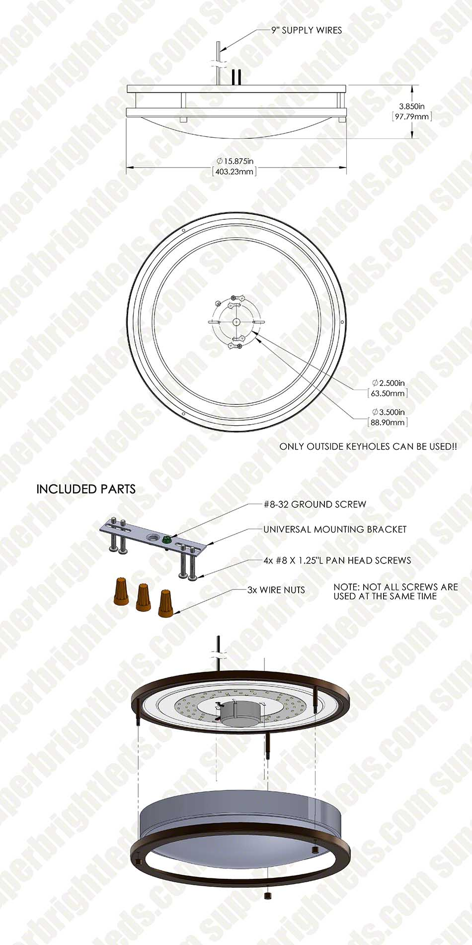 16 Flush Mount Led Ceiling Light W Brushed Nickel Or Oil Rubbed Wiring Diagram 120v Dimmable 23w