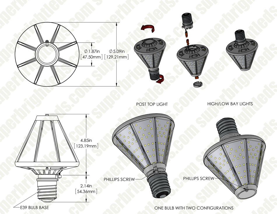 40W LED Post Top Light - 100W Equivalent HID Conversion - E39/E40 Mogul Base - 4,800 Lumens - 4000K/3000K