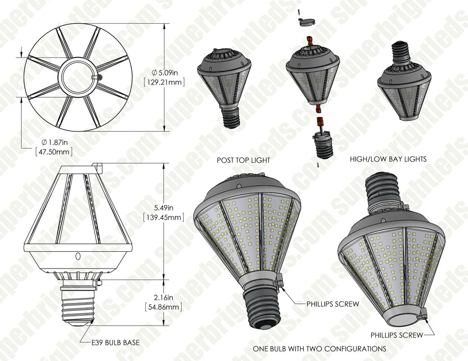 80W LED Post Top Light - 175W Equivalent HID Conversion - E39/E40 Mogul Base - 9,600 Lumens - 4000K/3000K