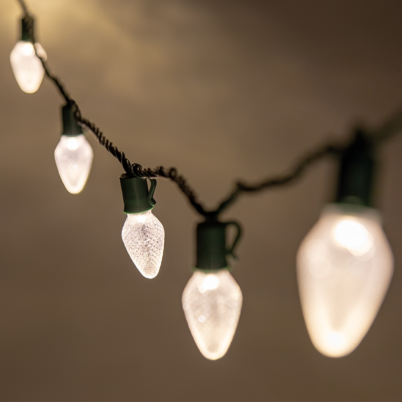 Christmas Led String Lights.C7 Christmas Led String Lights 17ft 25 Retro Faceted Bulbs Green Wire