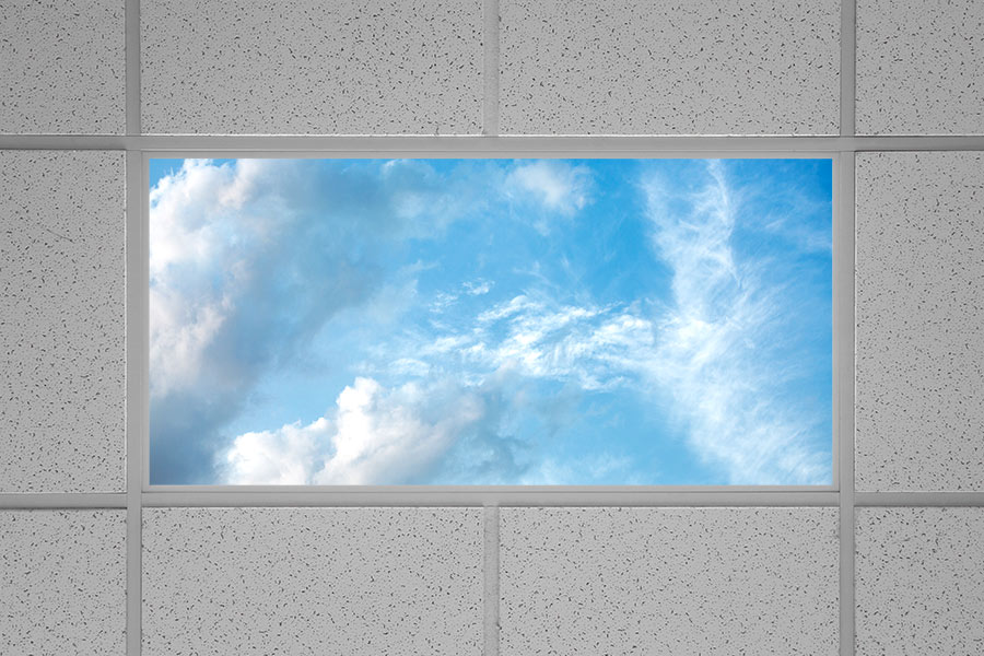 Led skylight w summer skylens 2x4 dimmable led panel light even glow led panel light summer sky luxart print dimmable 2 x 4 installed in drop ceiling aloadofball Choice Image