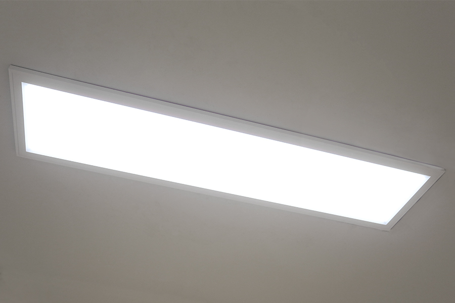 Dimmable 40w Led Panel Light Fixture 1ft X 4ft Shown Installed With Flush Mount Kit
