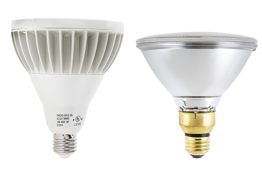 Led Flood Light Bulb Reviews: PAR38 LED Bulb - 18W Dimmable LED Flood Light Bulb: Profile View with Size  Comparison,Lighting