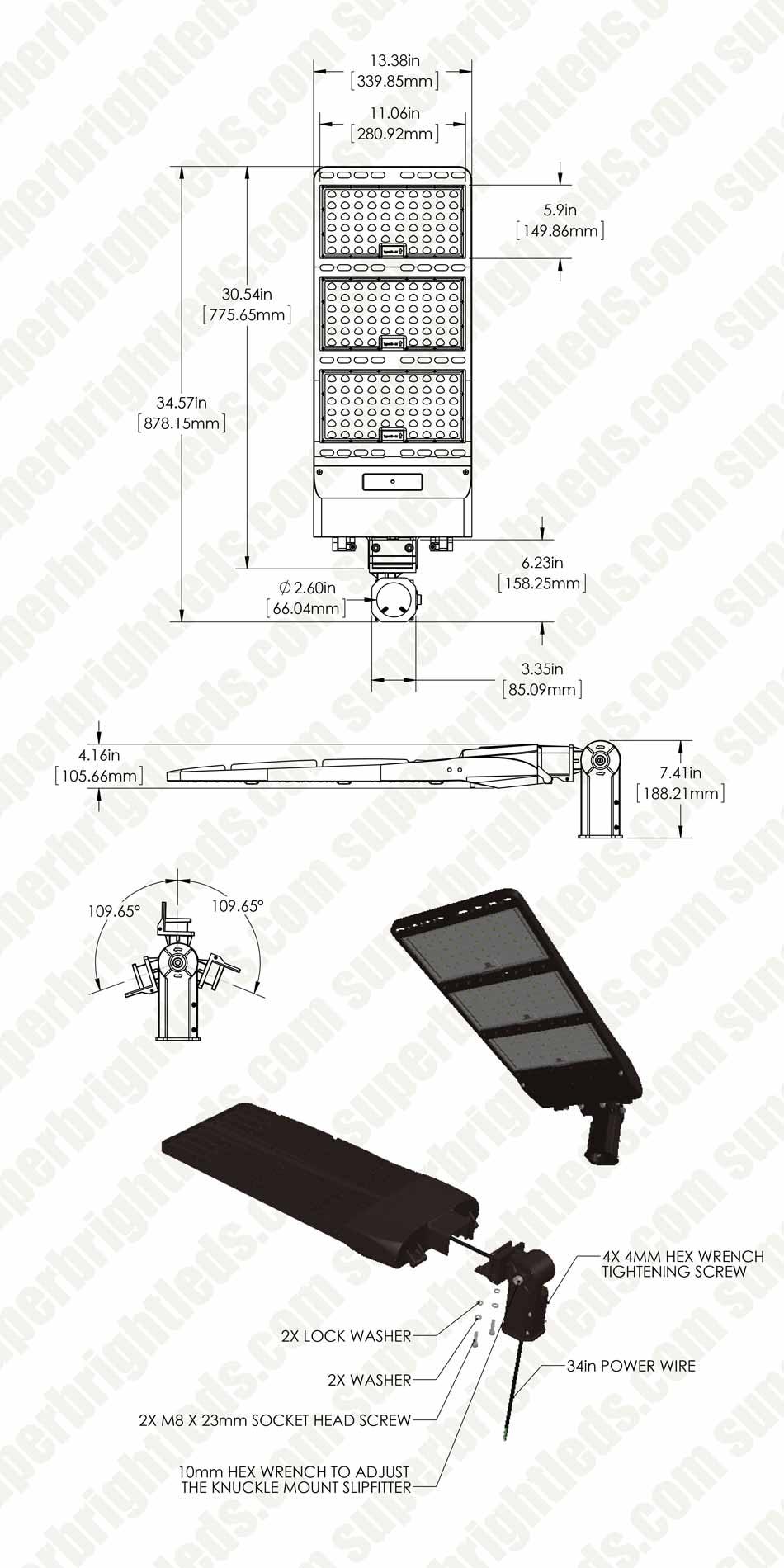 400W LED Parking Lot/Shoebox Area Light - 200-480V - 56,000 Lumens  W V Wiring Diagram on
