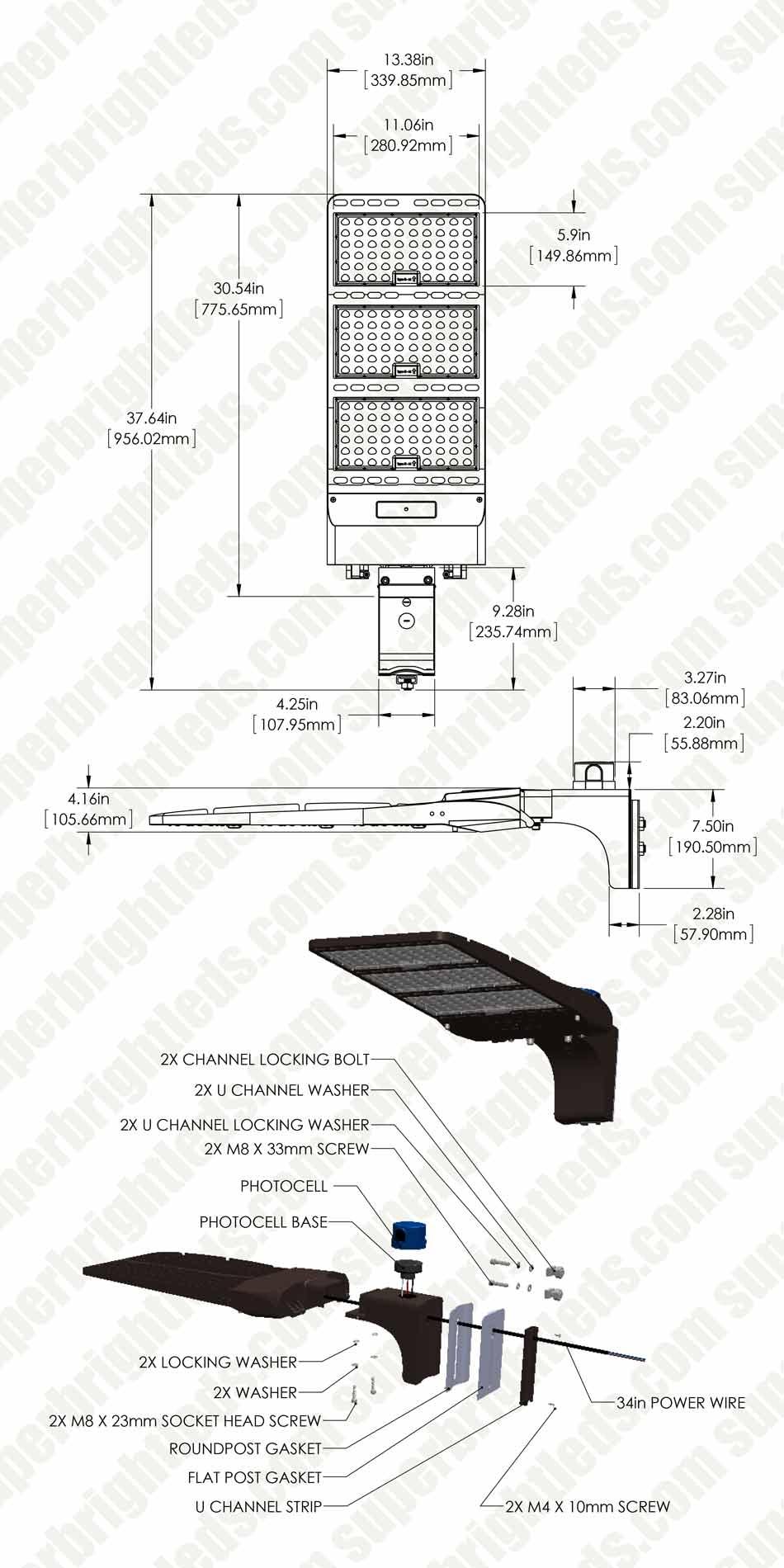 400w led parking lot shoebox area light w optional. Black Bedroom Furniture Sets. Home Design Ideas