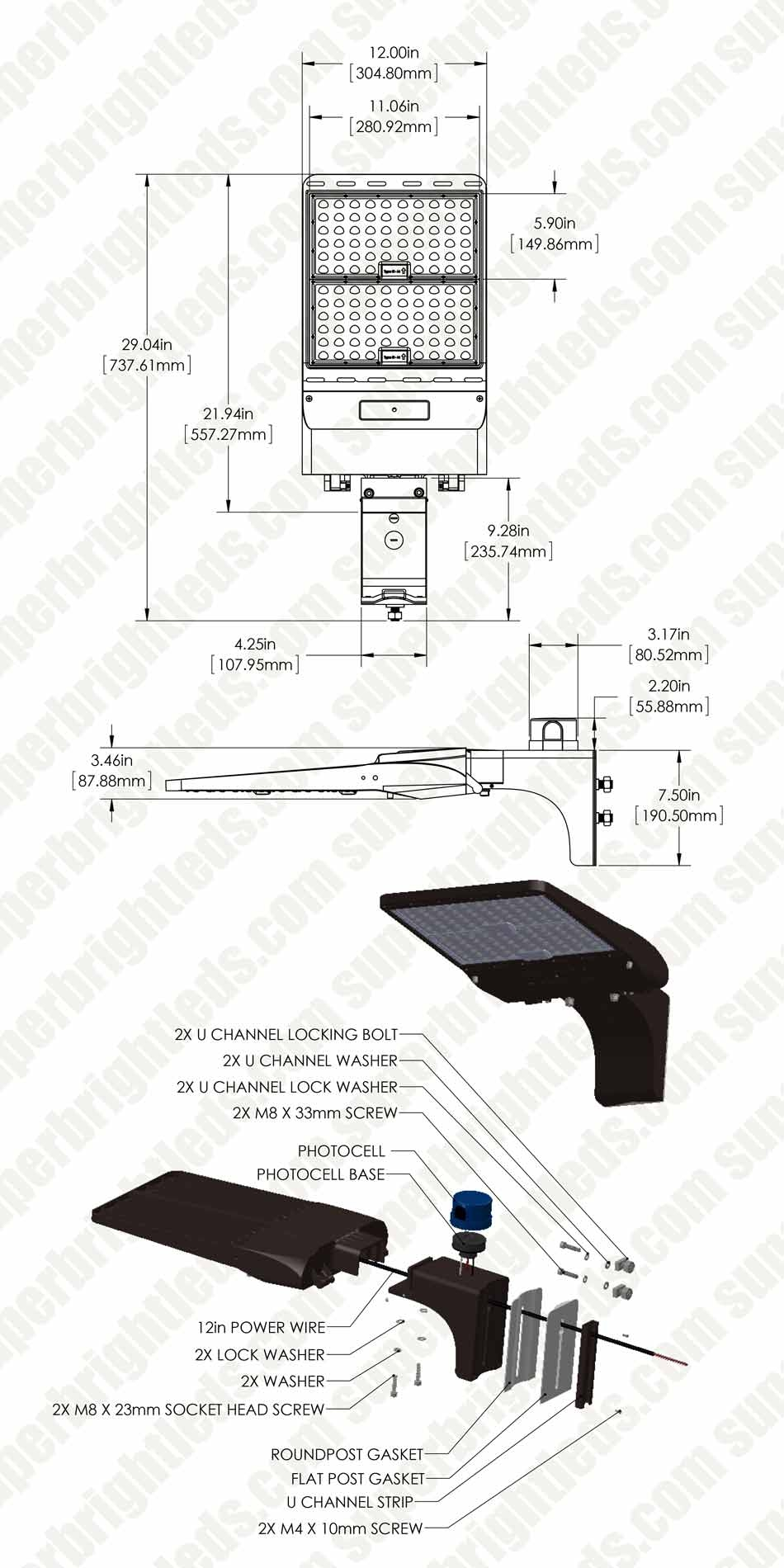 300W LED Parking Lot/Shoebox Area Light w/ Optional Photocell - 42,000 Lumens - 1,000W Metal Halide Equivalent - 5000K - Square/Round Fixed Arm Mount