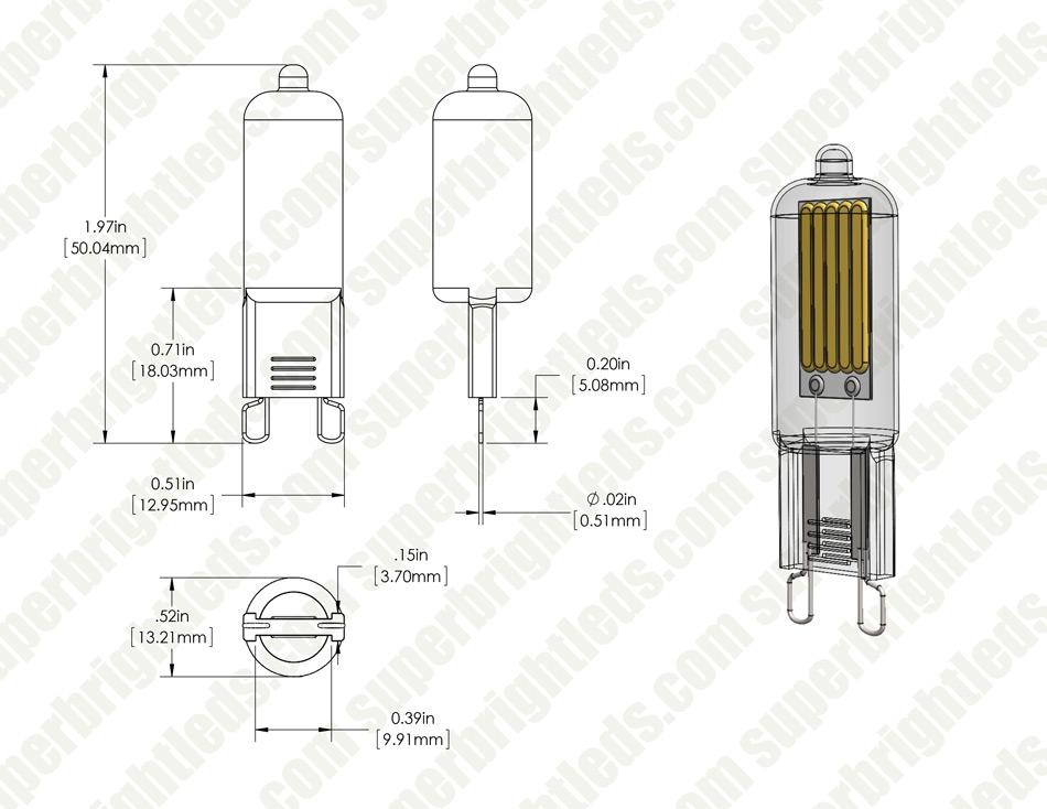 g9 led bulb - 25 watt equivalent - 120v ac - bi-pin led bulb