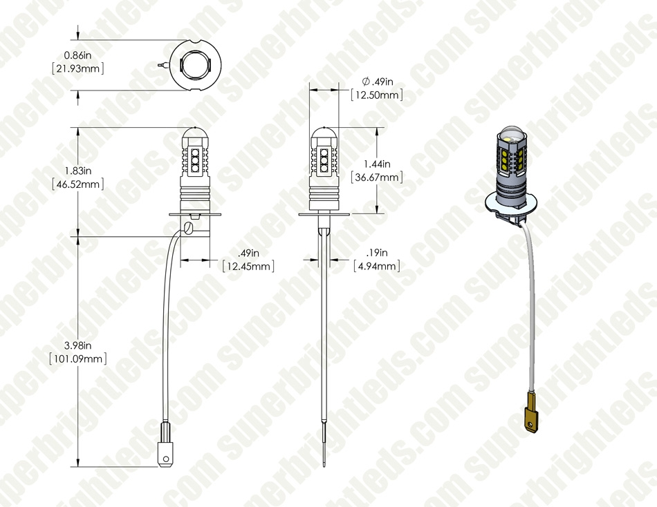 H3 LED Daytime Running Light Bulb with Focusing Lens - 400 Lu H Bulb Wiring Diagram on