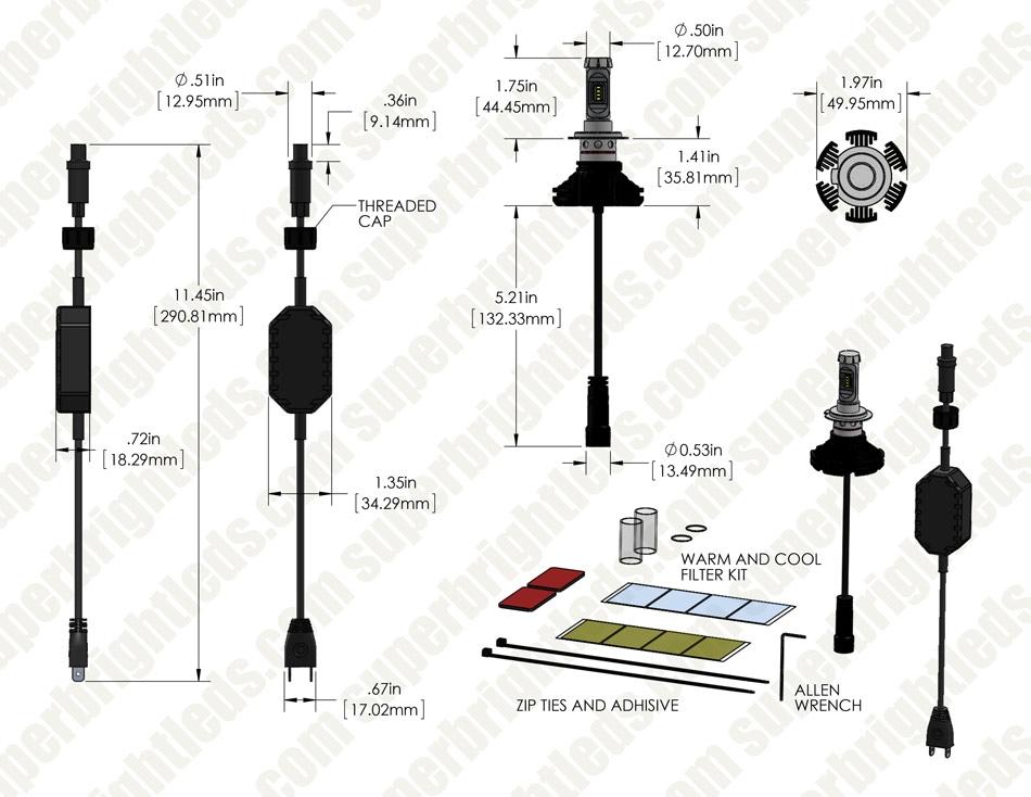 H7 Led Fanless Headlight Fog Light Conversion Kit With