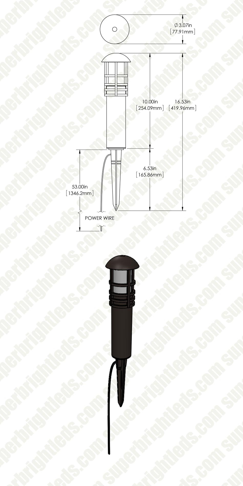LED Pathway Light - 3W - Low Voltage Landscape Lighting - Mini Bollard Post - 15W Equivalent