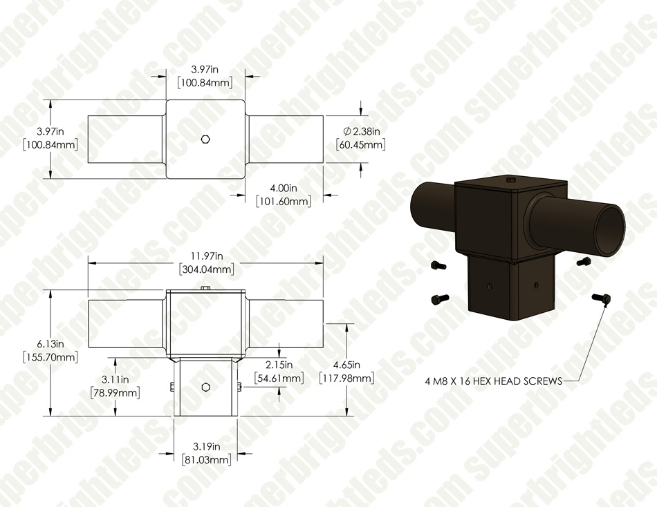 "Tenon Adapter for 4"" Square Poles - (2) Horizontal 180° Tenons"