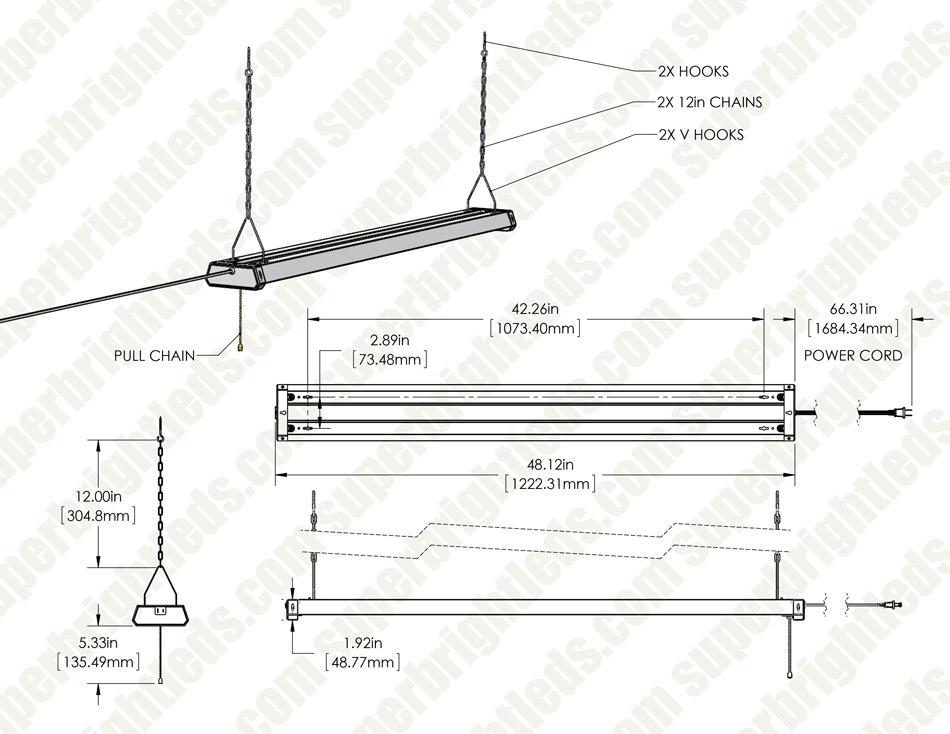 42w linkable led shop light - 4 u2019 - led garage light with pull chain - 4500 lumens  4000k