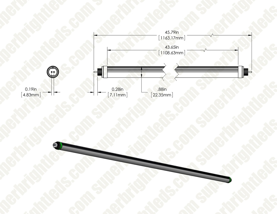 24w t5ho led tube - 3840 lumens - 4ft - dual end ballast bypass type b