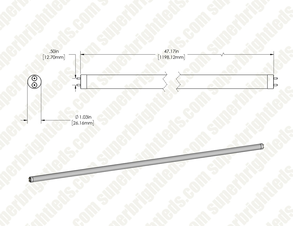 12W T8 LED Tube - 1600 Lumens - 4ft - Dual End Ballast Bypass Type B - ETL Listed to NSF Standards - 5000K/4000K