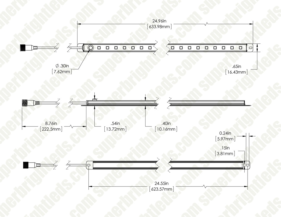 Waterproof Linear LED Light Bar Fixture w/ DC Barrel Connector and On/Off Button - 580 Lumens