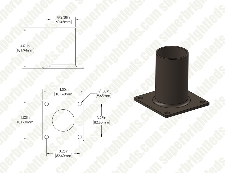 "Horizontal Wall Mount Tenon Bracket - 2-3/8"" Diameter Adapter"
