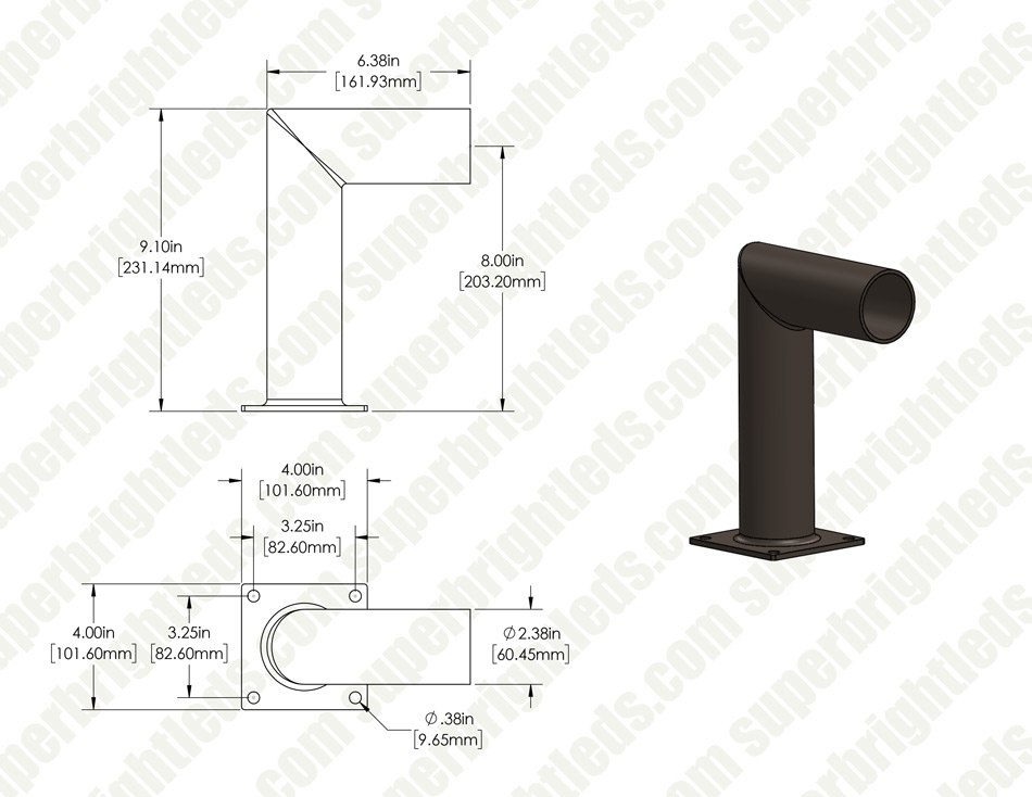 "Angled Wall Mount Tenon Bracket - 2-3/8"" Diameter Adapter"