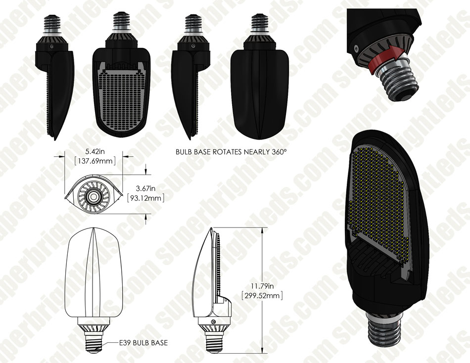75w Led Retrofit Bulb For Hid Lamps 8 700 Lumens 250w