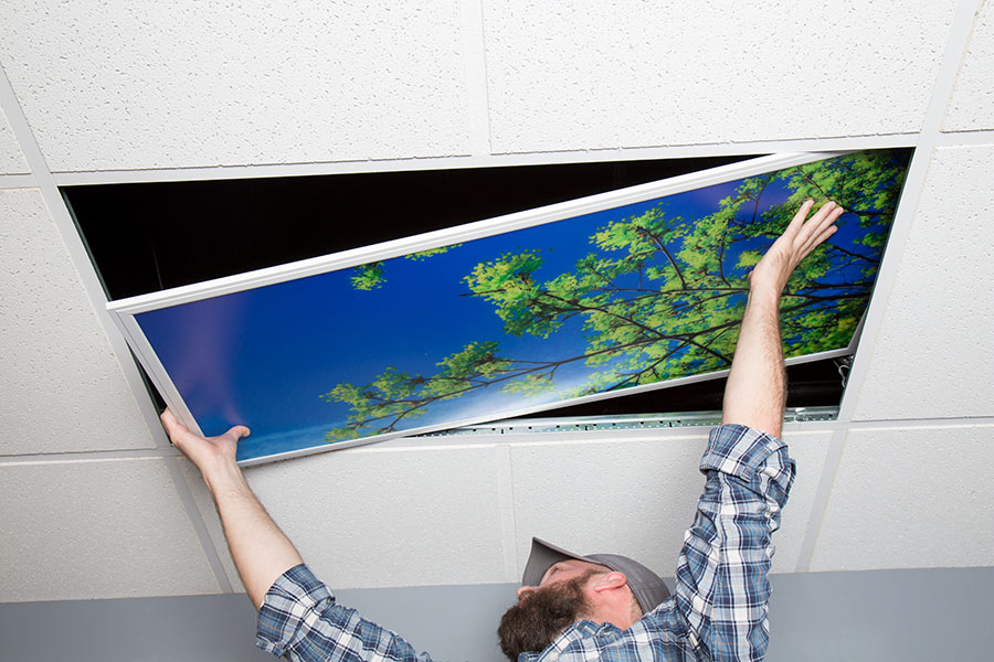 Led skylight 2x4 even glow led panel light w skylens summer even glow led panel light summer sky luxart print 2 x 4 showing panel being installed in drop ceiling mozeypictures Gallery