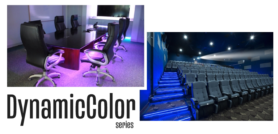 Applicaiton shots showing use of dynamic color changing strips in a conference room and movie theater.