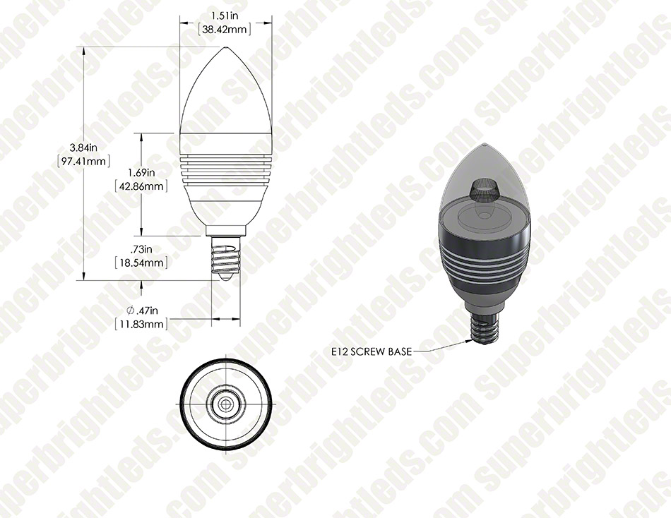 Candelabra LED Bulb, 3W CREE XPE - Silver