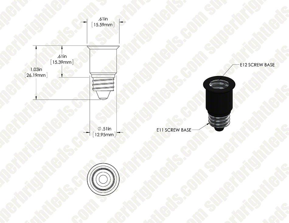 E12 Base To E11 Base Socket Adapter Super Bright Leds