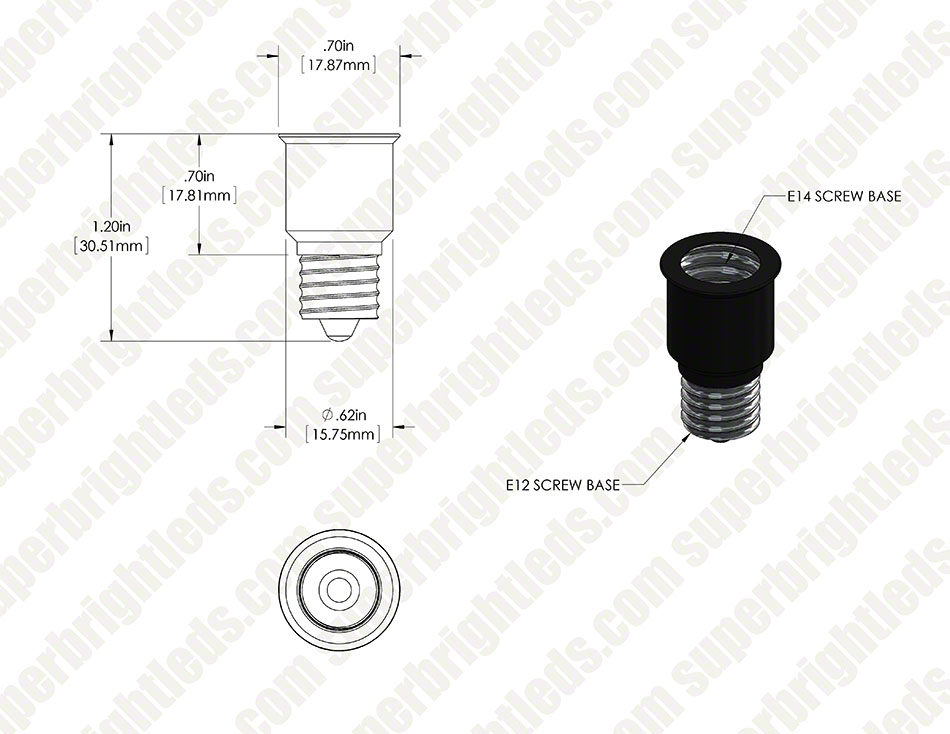 E14 Base to E12 Base Socket Adapter