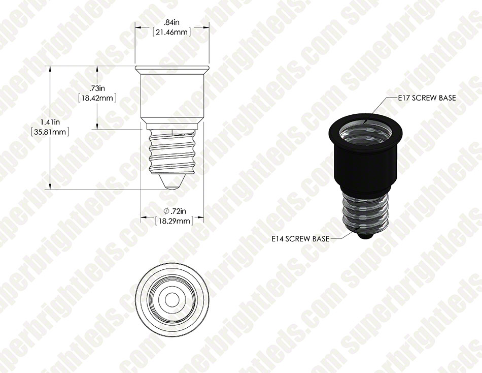 E17 Base to E14 Base Socket Adapter