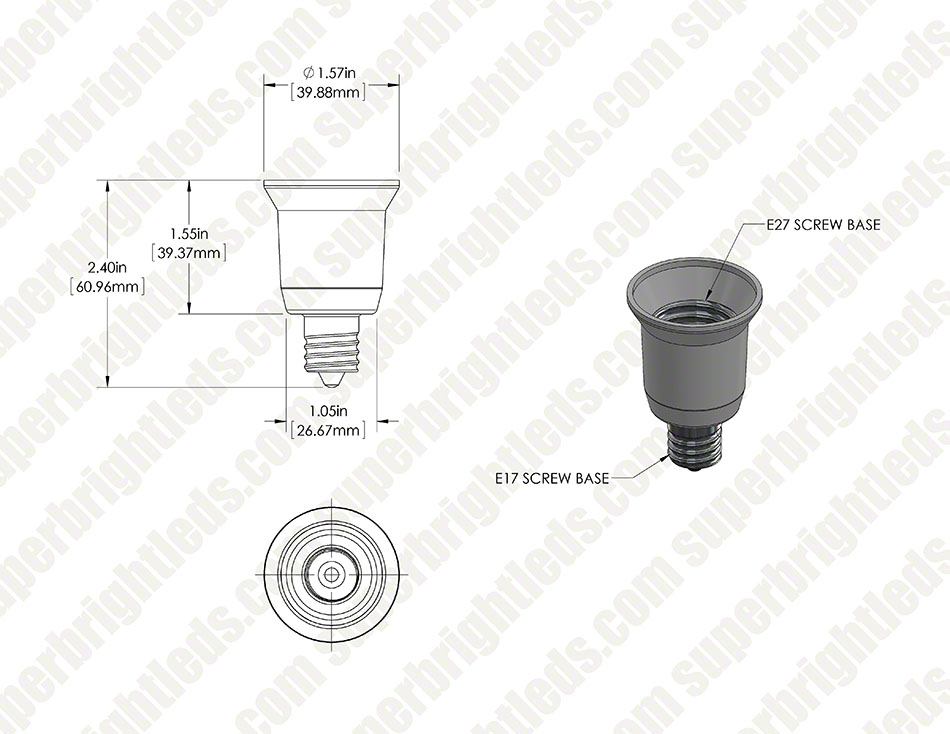 E27 Base to E17 Base Socket Adapter
