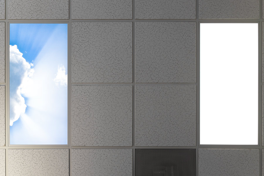 Led Skylight W Sun Beams Skylens 2x2 Dimmable Led Panel Light