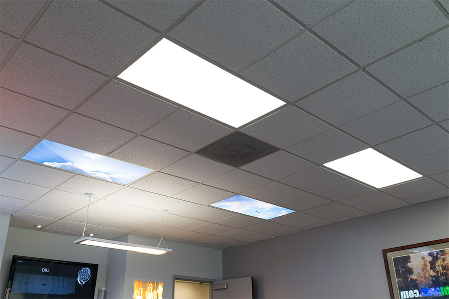 Even-Glow LED Panel Light - Summer Sky LUXART Print - Dimmable - 2u0027 x 2u0027 Showing Similar Printed Panels Installed Next To Unprinted LED Panels. & LED Skylight w/ Summer Skylens® - 2x2 Dimmable LED Panel Light ...