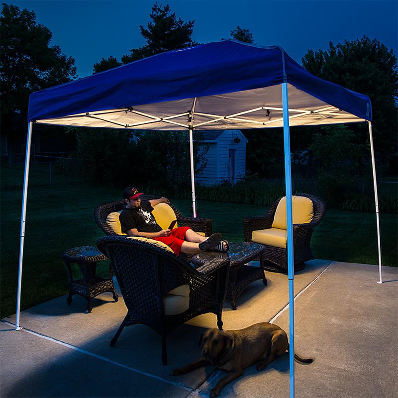 Portable Canopy Tent LED Lighting Kit Installed in EZ-UP Tent Lighting Patio Furniture While Reading Outside & Portable Canopy Tent LED Lighting Kit | Novelty Lighting | LED ...