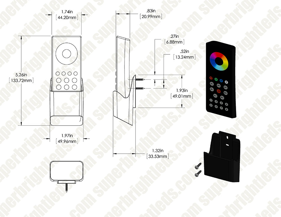 wireless rgbw 8 zone led remote w   cradle for ez dimmer