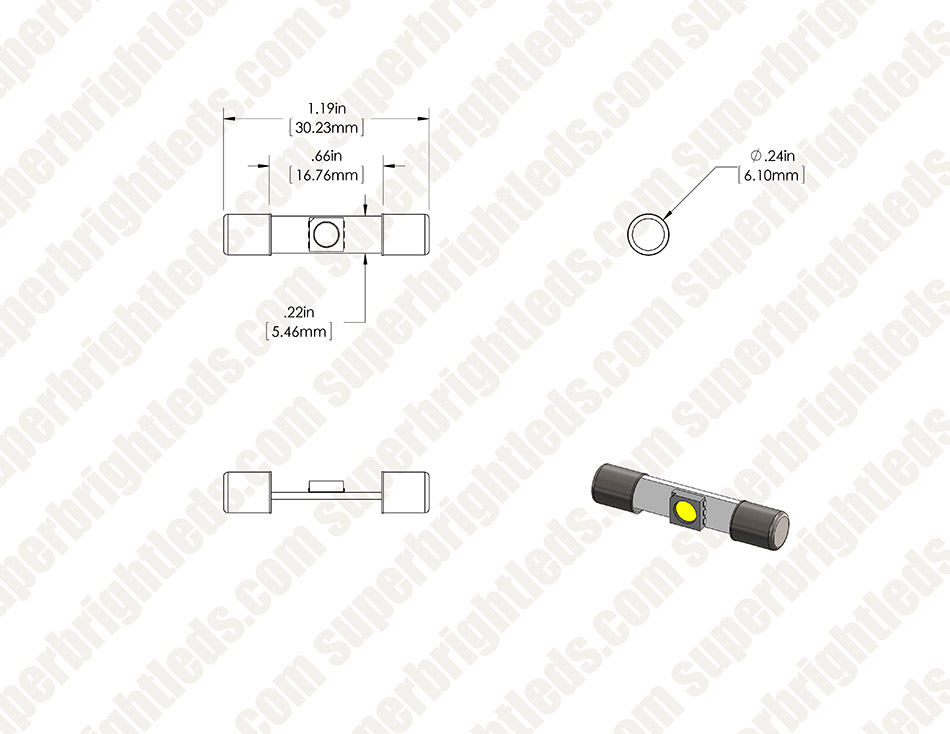 6612F LED Bulb - 1 SMD LED Fuse Lamp - 30mm