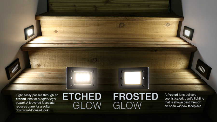 Led step lights rectangular deck step accent light w frosted lens 12v or 120v etched lights shown on left in open and louvered face plates