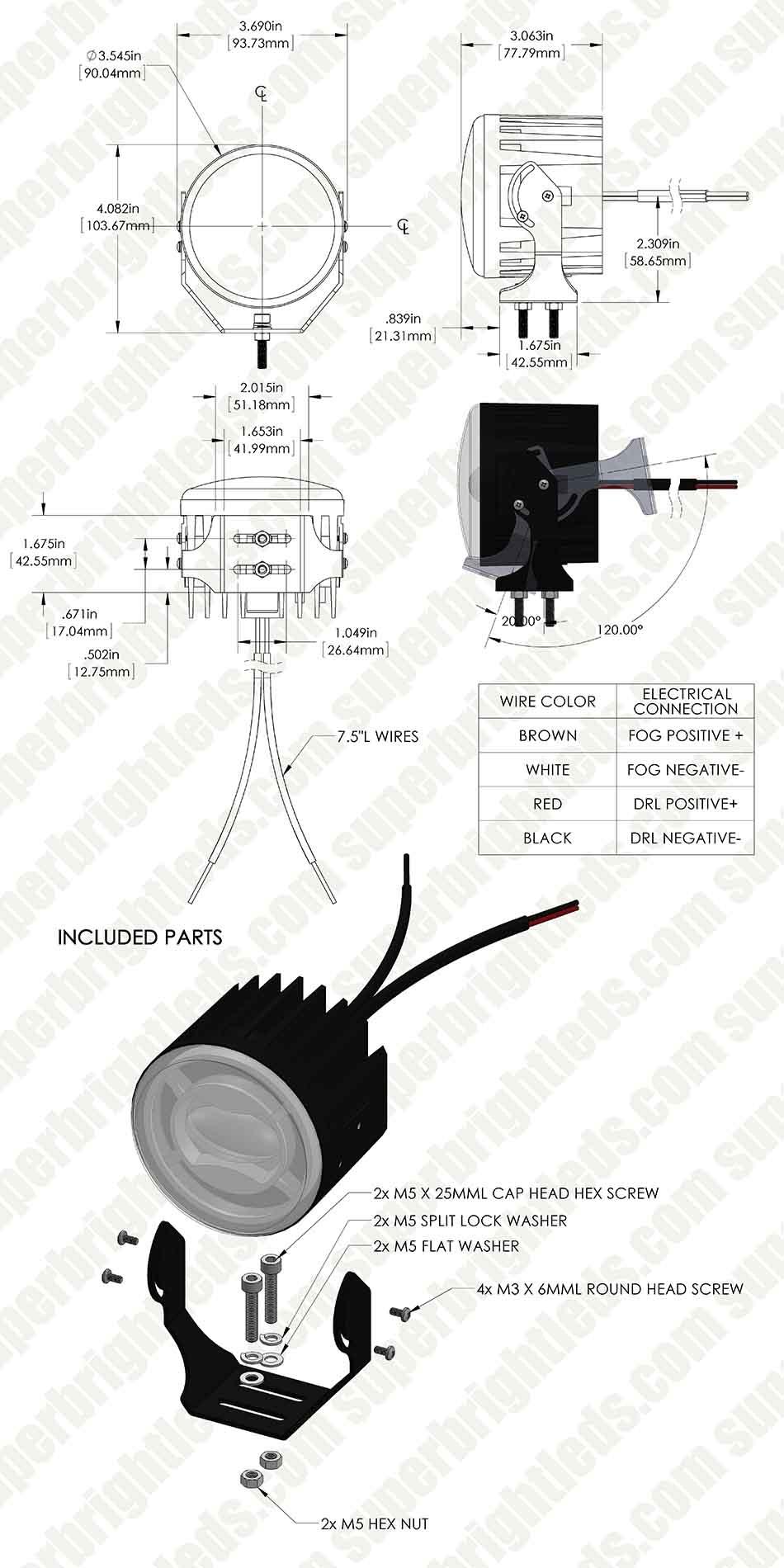 3 1 2 Led Projector Fog Lights Conversion Kit W Halo Daytime Wiring Diagram Running Universal Mount