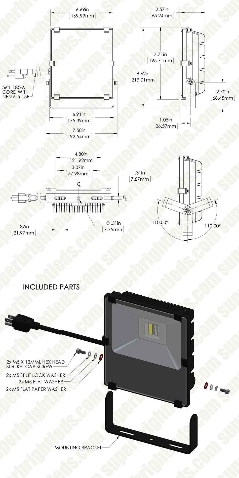 50w Color Changing Wi Fi Led Flood Light Rgb White 1000 Lumens Remote Spot Wiring Diagram 50 Watt Fixture