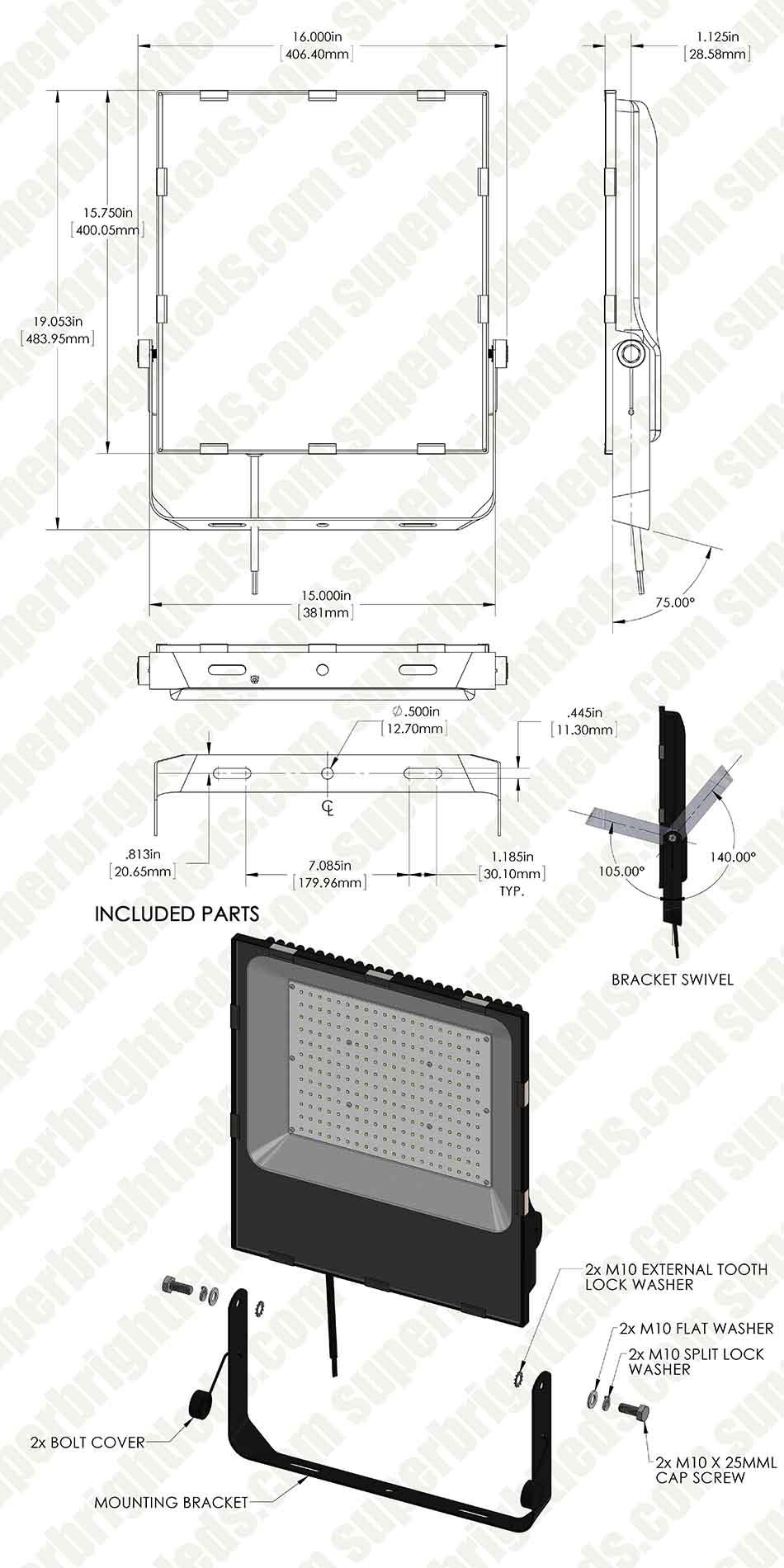 200 Watt LED Flood Light Fixture - 3000K/4000K/6000K - 750 Watt HID ...