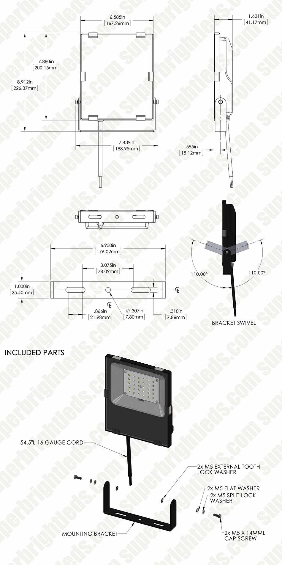 30 Watt LED Flood Light Fixture - 3000K/4000K/6000K - 100 Watt MH ...