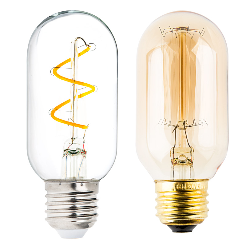 flexible filament led bulb t14 carbon filament style bulb 25 watt equivalent spiral loop. Black Bedroom Furniture Sets. Home Design Ideas