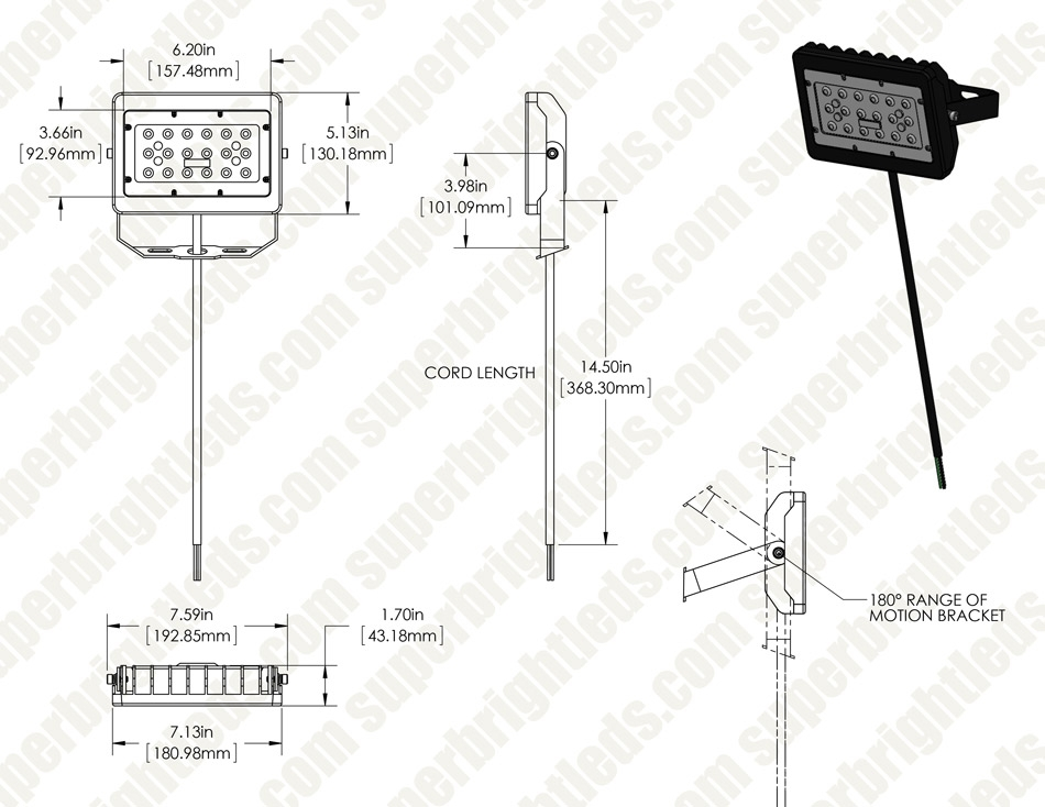 30W LED Flood Light - 3,400 Lumens - 150W Metal Halide Equivalent - 5000K/4000K