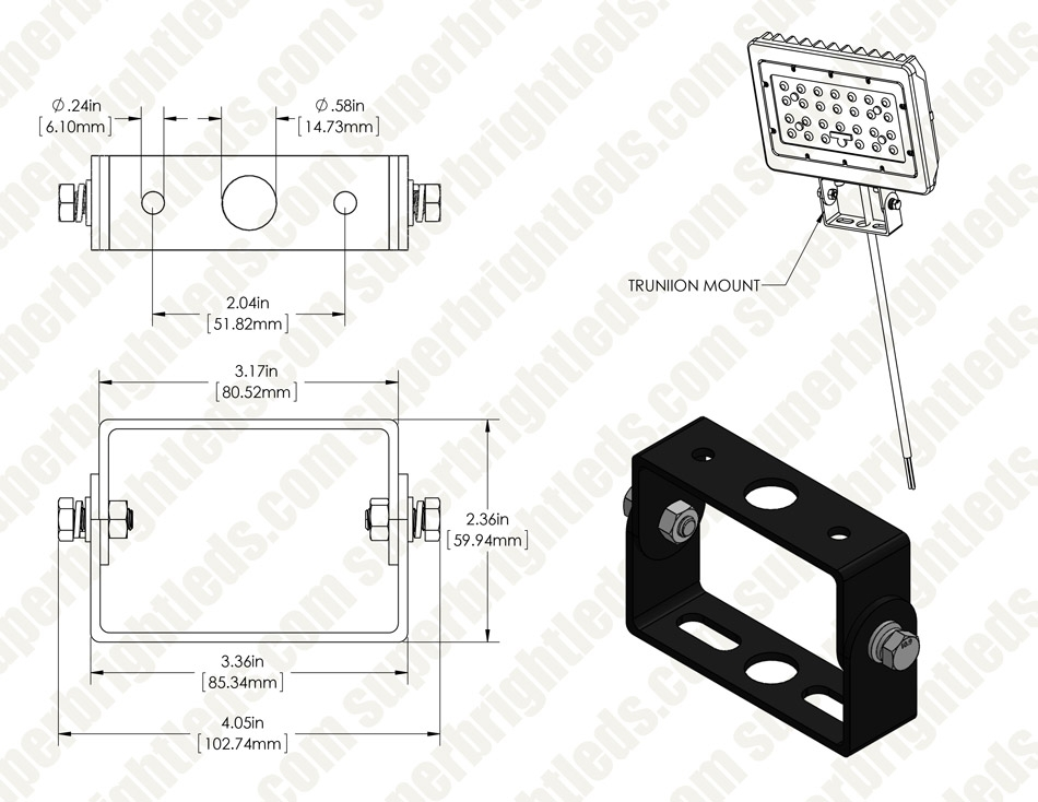 Trunnion Mounting Bracket for 30W and 50W FLSC LED Flood Lights