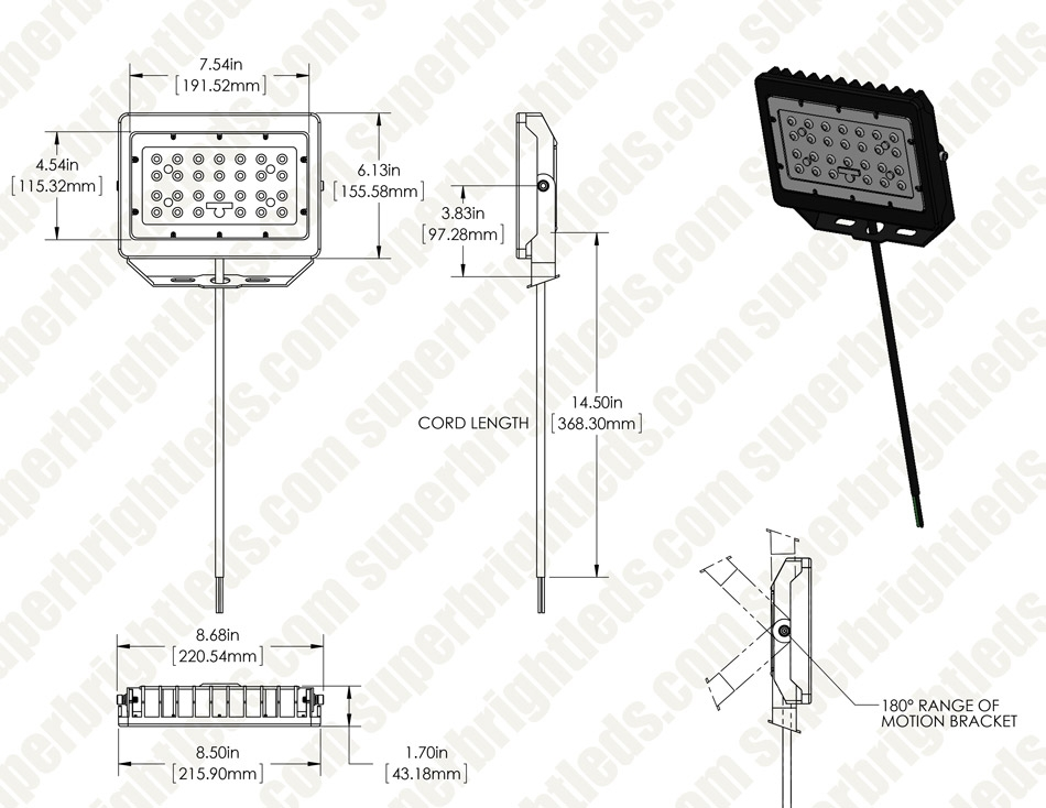50W LED Flood Light - 5,800 Lumens - 175W Metal Halide Equivalent - 5000K/4000K
