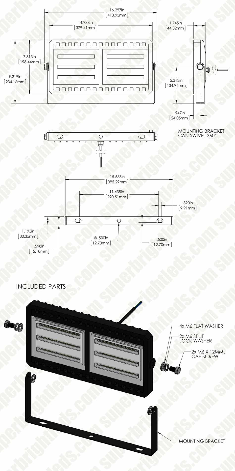100 Watt LED Flood Light Fixture - Low Profile -  9,300 Lumens