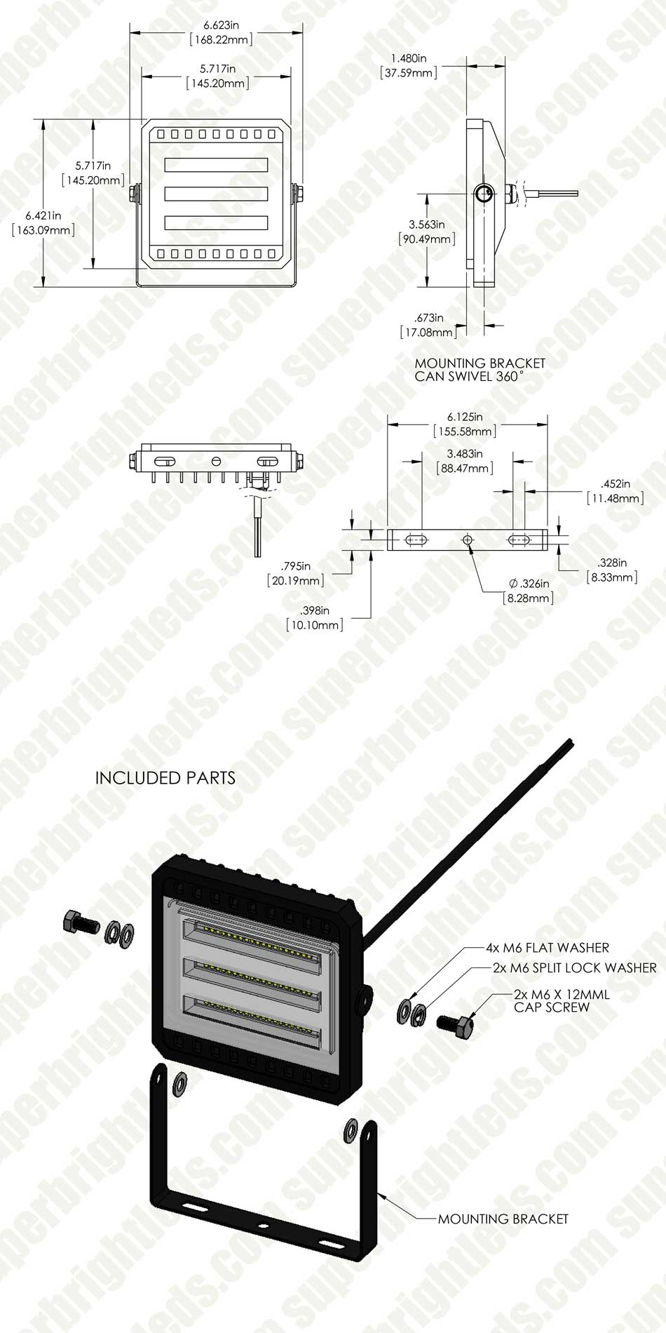 30 watt led flood light fixture - low profile - 4000k