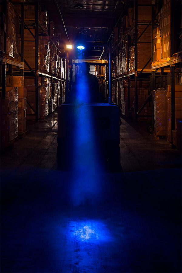 Led Fork Lift Lights : Forklift blue light led safety w ° square beam