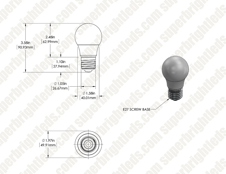 A15 LED Bulb - 50 Watt Equivalent - 12V DC