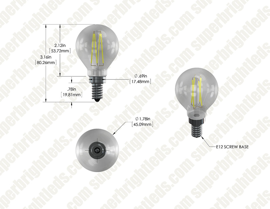 LED Filament Bulb - G14 LED Candelabra Bulb with 4 Watt Filament LED - Dimmable