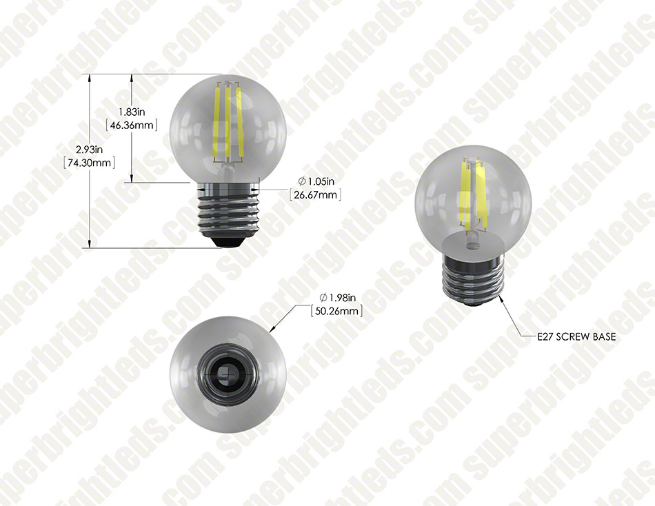 LED Filament Bulb - G16 LED Candelabra Bulb with 4 Watt Filament LED - Dimmable