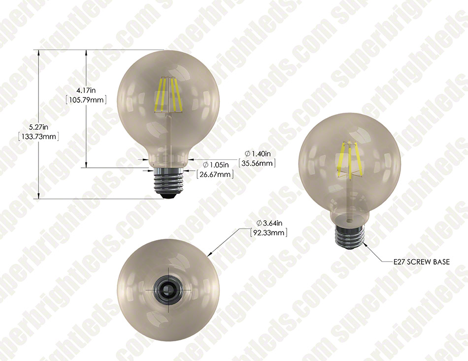 LED Filament Bulb - Gold Tint G30 LED Bulb with 6 Watt Filament LED - Dimmable